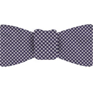 Midnight Blue & White Shepherd's Check Silk Bow Tie #SCHBT-5