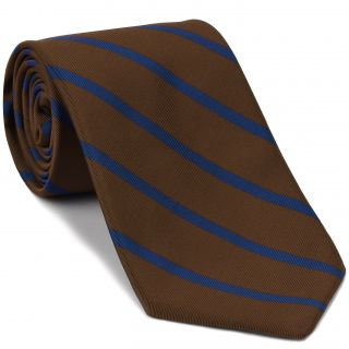 Blue on Chocolate Mogador Striped Tie #MGST-5