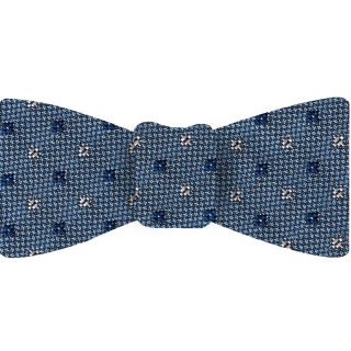 Navy Blue & White on Sky Blue Mogador Pattern Bow Tie #MGJBT-2