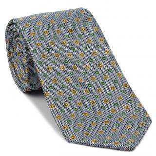 Light Green, Light Yellow, White, Light Blue & Navy Blue Flower Silk Tie #FT-17