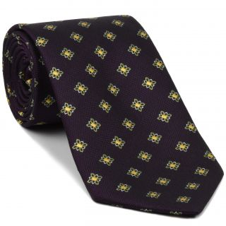 Young Leaf Green, Corn Yellow & White Flower On Burgundy Silk Tie #30