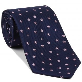 Pale Pink on Navy Blue English Flower Silk Tie #FT-5