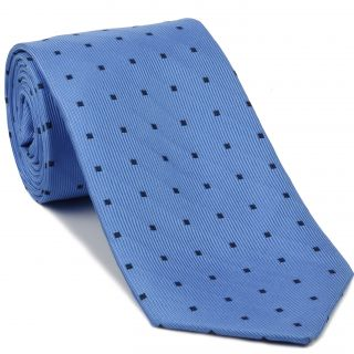 Midnight Blue on Powder Blue English Geometric Silk Tie #EGT-24