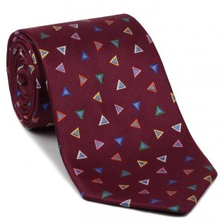 Yellow, Green, Orange, White, Violet & Powder Blue on Maroon Geometric Silk Tie #EGT-28