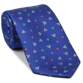 Red, Pink, Green, Yellow, White & Violet on Medium Blue English Geometric Silk Tie #EGT-6