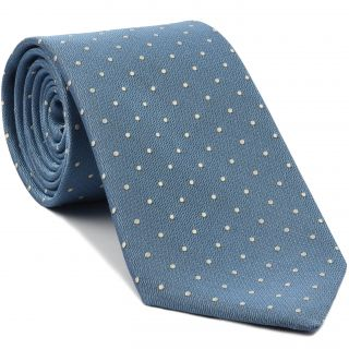 White Dots on Sky Blue Pin-Dot Silk Tie #EPDT-11