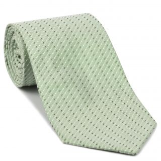 White & Gray on Light Mint Green Pattern Silk Tie #EPT-25