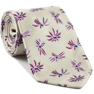 NavyBlue, Light Lavender & White on Light Gold Flower Silk Tie # 27