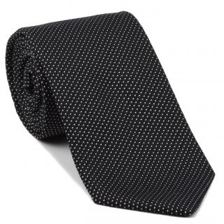 White On Midnight Blue Grenadine Fina Pin Dot Silk Tie #GFPDT-1