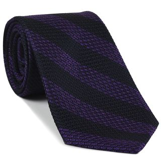 Purple & Midnight Blue Grenadine Grossa Wide Stripe Silk Ties #GGBST-5
