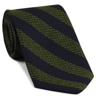 Olive Green & Midnight Blue Grenadine Grossa Wide Stripe Silk Ties #GGBST-7