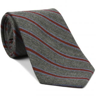 Dark Red & Powder Blue Stripe on Charcoal Gray Cashmere Tie #GSCT-1