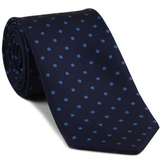 Blue on Dark Navy Macclesfield Print Pattern Silk Tie #MCT-480