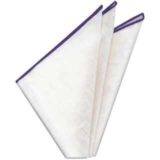 White Linen With Purple Contrast Edges Pocket Square