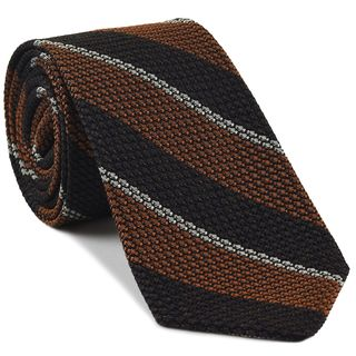 Burnt Orange, Bitter Chocolate & Off-White Classic Grenadine Grossa Stripe Silk Tie #10