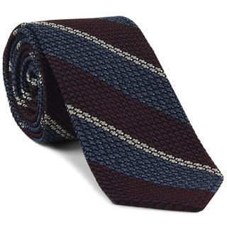 Burgundy, Slate Blue & Off-White Classic Grenadine Grossa Stripe Silk Tie #3