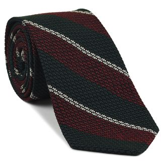 Medium Red, Forest Green & Off-White Classic Grenadine Grossa Stripe Silk Tie #8