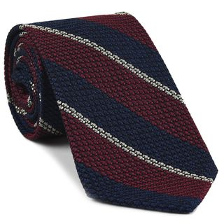 Red, Dark Navy & Off-White Classic Grenadine Grossa Stripe Silk Tie #6