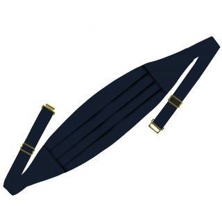 Classic Cummerbund - Midnight Blue Satin Solid Silk with clasp and sliders #BSACC-2