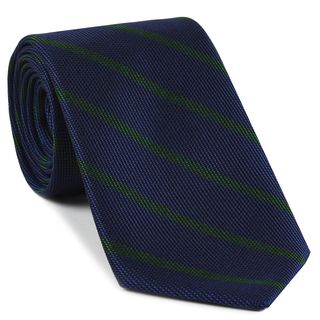 Forest Green on Dark Navy Blue Grenadine Fina Stripe Silk Tie #GFSBT-4