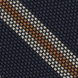 Off-White & Orange on Dark Navy Blue Grenadine Fina Stripe Silk Pocket Square #GFSCP-4