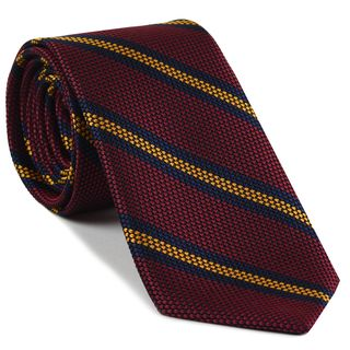 Navy Blue & Yellow Gold on Red Grenadine Fina Stripe Silk Tie #GFSCT-7