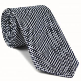 Dark Navy, Black & White Hounds Tooth Silk Tie #HDT-9