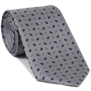 Sky Blue, Off White, Black on Silver Gray Print Pattern Silk Tie #MCT-526