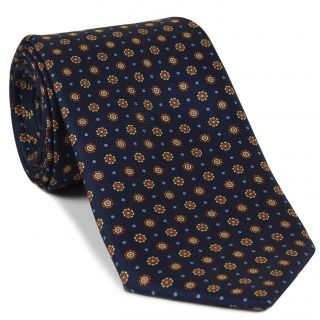 Burnt Orange, Light Yellow, Powder Blue, Light Pink on Midnight Blue Print Pattern Silk Tie #MCT-531
