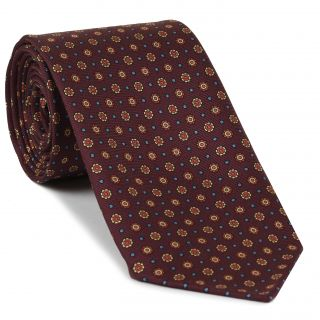 Orange, Light Yellow, Sky Blue on Burgundy Macclesfield Print Pattern Silk Tie #MCT-533