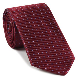 Sky Blue on Red Mogador Pin Dot Tie #MGPDT-5