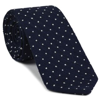 White on Dark Navy Blue Shantung Pin Dot Silk Tie #SHPDT-1
