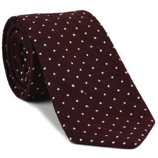 White on Burgundy Shantung Pin Dot Silk Tie #SHPDT-2