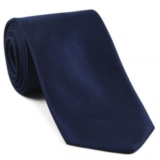 Navy Blue Large Twill Silk Tie #LTWT-8