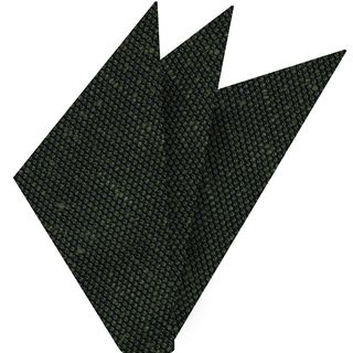Dark Olive Green Shantung Grenadine Fina Silk Pocket Square #SHFP-10