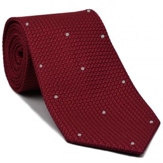 Red Grenadine Grossa with Silver (Hand Sewn) Pin Dots Silk Tie #GGDT-1 (2)