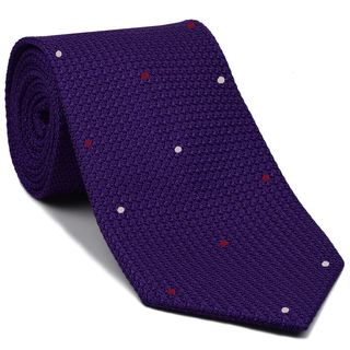 Purple Grenadine Grossa with White & Bright Red (Hand Sewn) Pin Dots Silk Tie #GGDT-34 (1,7)