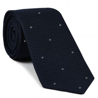 Midnight Blue Grenadine Grossa with  Silver Gray (Hand Sewn) Pin Dots Silk Tie #GGDT-8(35)
