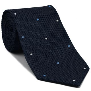 Midnight Blue Grenadine Grossa with White & Sky Blue (Hand Sewn) Pin Dots Silk Tie #GGDT-8 (1,3)