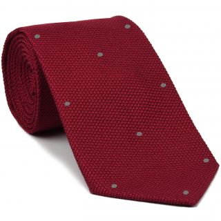 Red Grenadine Fina with Silver Gray (Hand Sewn) Pin Dots Silk Tie #GFDT-1 (35)
