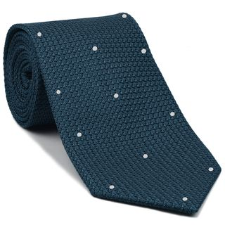 Slate Blue Blue Grenadine Grossa with White (Hand Sewn) Pin Dots Silk Tie #GGDT-12(1)