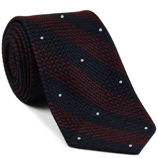 Dark Red & Midnight Blue Grenadine Grossa Wide Stripe with White (Hand Sewn) Pin Dot Silk Ties #GGBSDT-6(1)