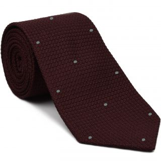 Burgundy Grenadine Grossa with Silver Gray (Hand Sewn) Pin Dots Silk Tie #GGDT-3 (35)