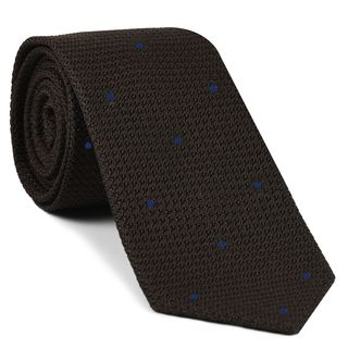 Bitter Chocolate Grenadine Grossa with Navy Blue (Hand Sewn) Pin Dots Silk Tie #GGDT-6 (5)