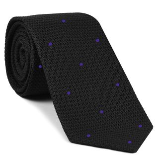 Black Grenadine Grossa with Purple (Hand Sewn) Pin Dots Silk Tie #GGDT-7 (16)