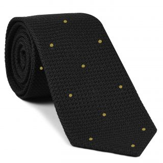 Black Grenadine Grossa with Yellow (Hand Sewn) Pin Dots Silk Tie #GGDT-7 (25)
