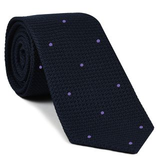 Midnight Blue Grenadine Grossa with  Lavender (Hand Sewn) Pin Dots Silk Tie #GGDT-8(14)