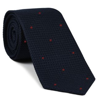 Midnight Blue Grenadine Grossa with Red (Hand Sewn) Pin Dots Silk Tie #GGDT-8(8)