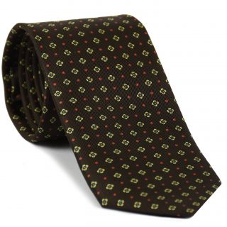 Sky Blue, Red & Light Yellow on Dark Chocolate Macclesfield Print Silk Tie #MCT-305