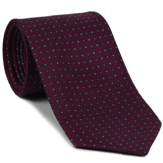 Sky Blue & White on Dark Fuchsia  Print Pattern Silk Tie #MCT-601